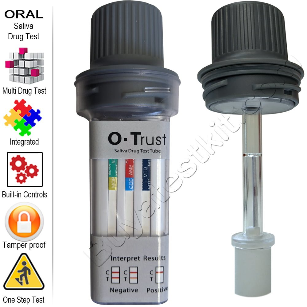 O-Trust Oral Drug Test Tube for detecting 5 to 12 drugs of abuse.